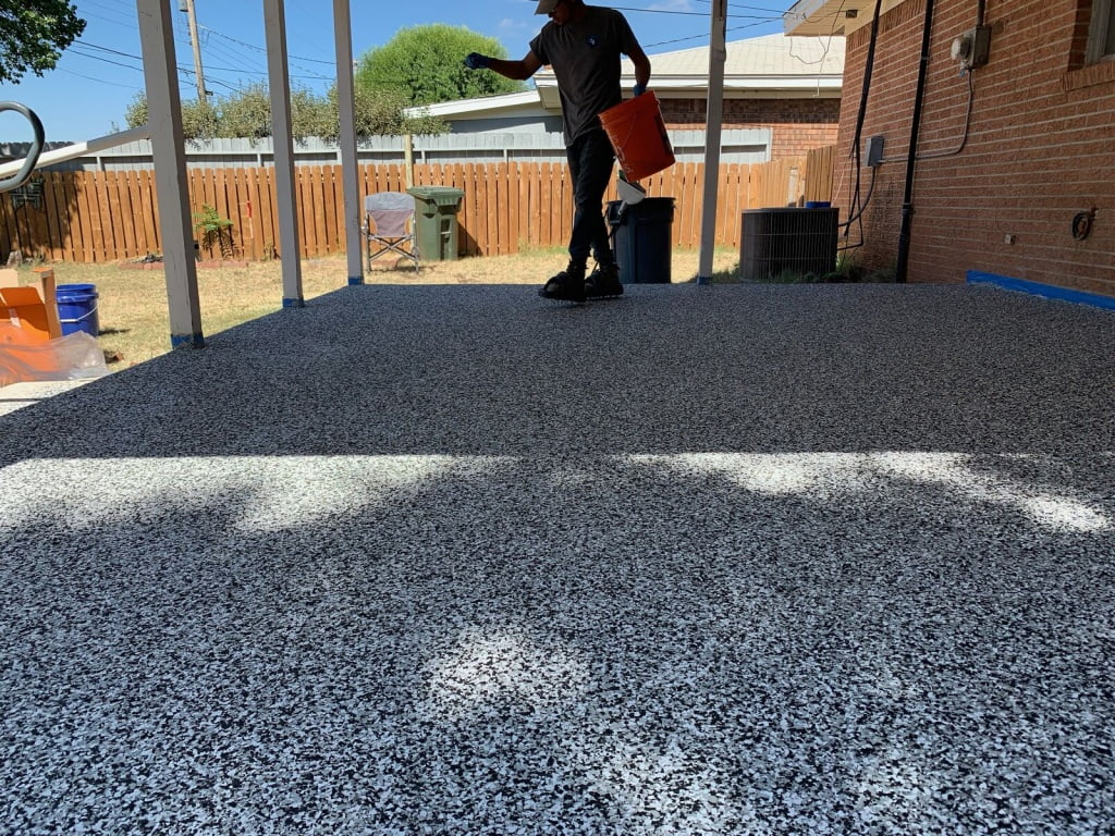 Concrete Coating Outdoor Patio In Amarillo - Penntek Chip System - Childers Brothers