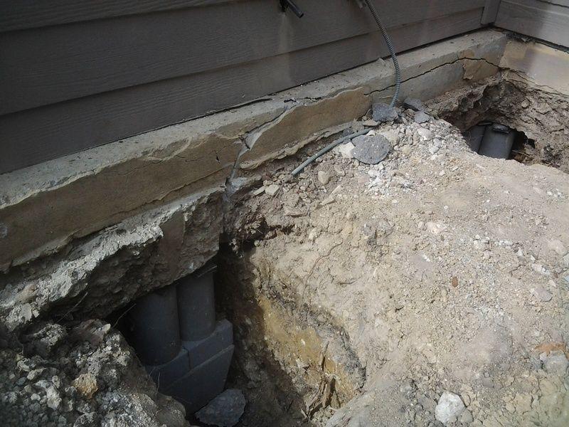 Broken Concrete Push Pile - Foundation Repair Amarillo, TX