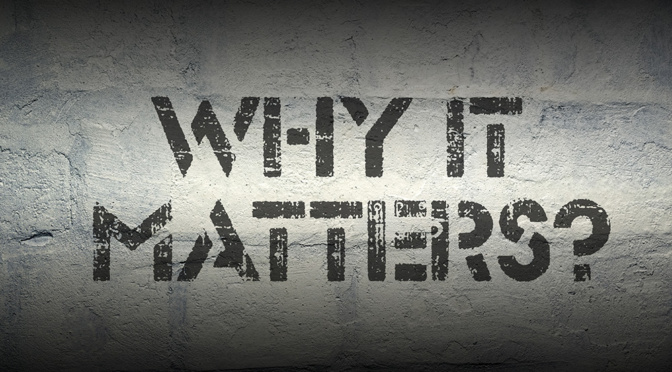 why it matters question stencil print on the grunge white brick wall