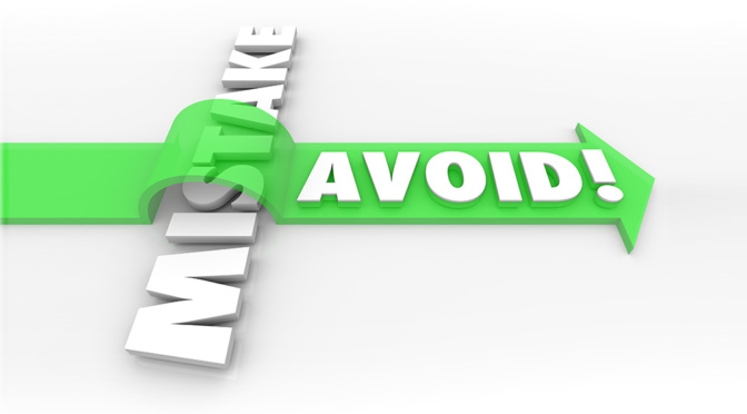 Avoid Mistake words in 3d letters and a green arrow over the word to illustrate preventing a problem